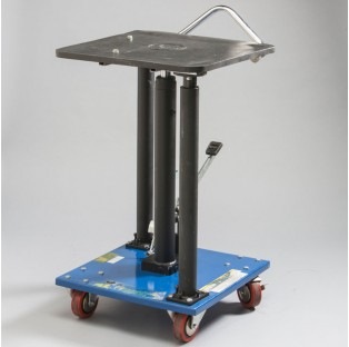 Bench Mount Table with foot pump and wheels for mobilizing the UC-BM1.25 Bench Mount Launcher