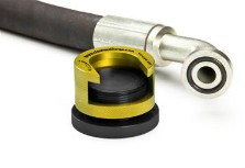 Yellow clean seal flange with flanged hose assembly